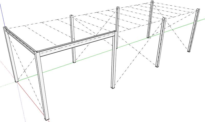 Figura 1, il soppalco in acciaio dopo la seconda parte