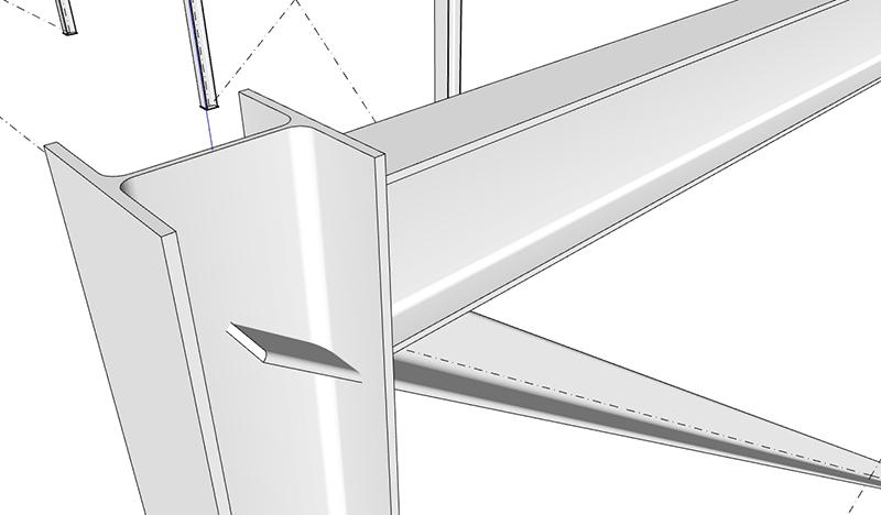 Figura 3, il nodo tra colonna, trave secondaria e controvento