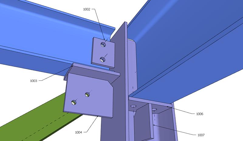 Figura 8, il nodo tra colonna, trave secondaria, controvento e trave principale