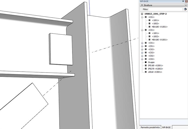 Figura 10, gerarchia nel pannello struttura