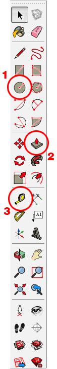 Figura 1, barra degli strumenti di Sketchup