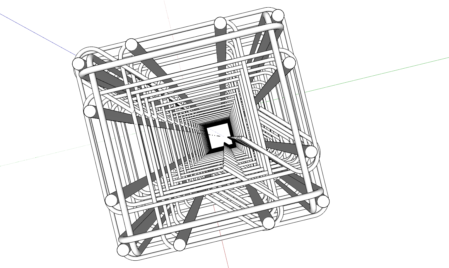 Una gabbia metallica fatta in Sketchup, vista dall'alto