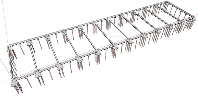 Figura 1 - Esempio di fondazioni di un capannone con plinti a bicchiere su pali.