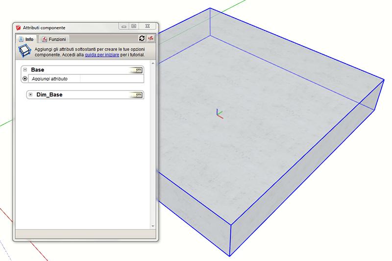 Figura 4 - Componenti dinamici in Sketchup - La finestra attributi componente con la vista dei due componenti in cui Dim_Base è annidato.