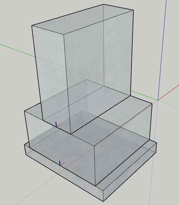 Figura 2 - Disposizione degli assi locali - Componenti dinamici Sketchup - Trave rovescia