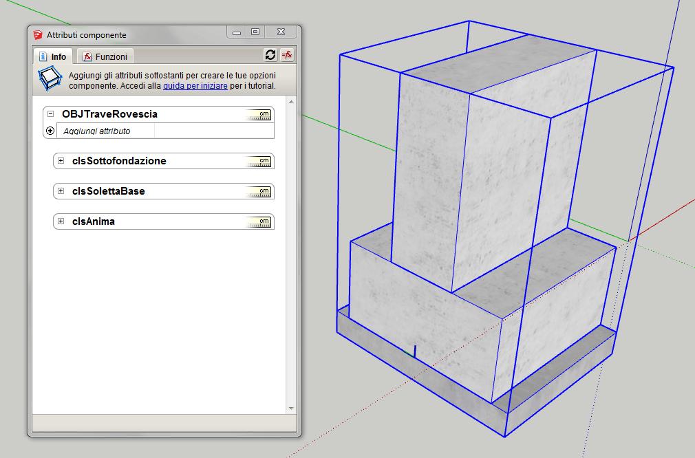 Figura 3 - Componenti dinamici Sketchup - Trave rovescia