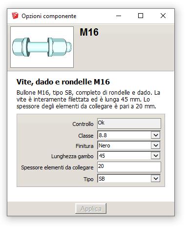 Figura 2 - La finestra opzioni del componente selezionato.