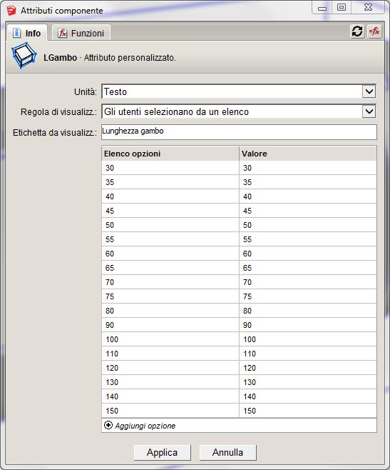 Figura 6 - Configurazione del parametro LGambo