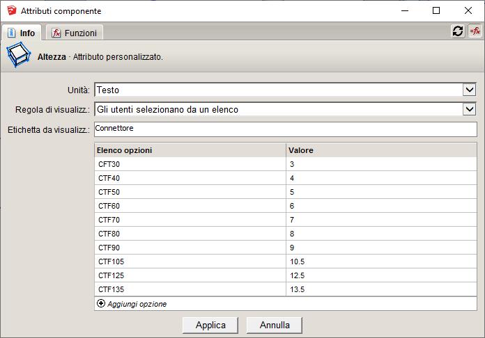 Figura 4 - La lista delle opzioni per i parametri commerciali del connettore.