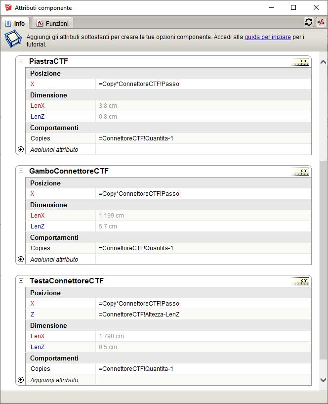 Figura 5 - Definizione dei parametri per i sotto componenti